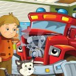 The red fire truck is sick and waiting with his friends for the car doctor — Stock Photo #14458389
