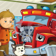 The red fire truck is sick and waiting with his friends for the car doctor - Stock Photo