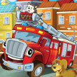 The red firetruck hero with his animal friends are happy - Stock Photo