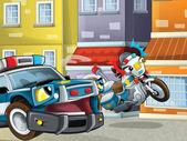 Amigos de dois policiais na rua - manter seguro - guardando - falando — Foto Stock