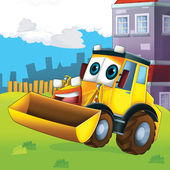 Happy tractor — Stock Photo
