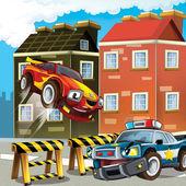 Pursuit, speeding car, road block — Stock Photo