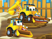 Father and son excavators — Stock Photo