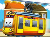 Happy tram in the city — Stock Photo