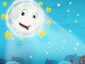 мультфильм, улыбается луна ночью со звездами — Стоковое фото