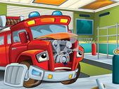The red fire truck waiting to be repaired — Stock Photo