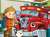 红色消防车是生病等与他的朋友们为汽车医生 — 图库照片