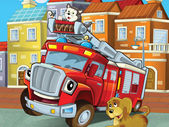 The red firetruck hero with his animal friends are happy — Stock Photo