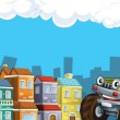 Cartoon city look with terrain car - Stock Photo
