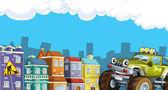 Olhar de cidade dos desenhos animados com carro terreno — Foto Stock