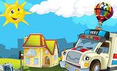 Cartoon city look with ambulance — Stock Photo
