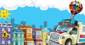 Cartoon-city-look mit krankenwagen — Stockfoto