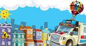 Olhar de cidade dos desenhos animados com ambulância — Foto Stock