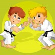 Two kids training martial — Stock Photo