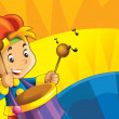 Stock Photo: Cartoon kids with instruments - musical signs and happiness on colored dynamic background