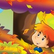 Cartoon kids playing autumn fun - Stock Photo