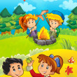 The trip to the wood - mushrooming - sightseeing - campfire - illustration for the children — Stock Photo #14625625