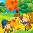 The trip to the wood - mushrooming - sightseeing - campfire - illustration for the children — Stock Photo #14625755