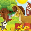 The farm illustration for kids - many different elements - meeting of two friends - horse and cat chatting — Stock Photo
