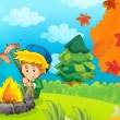 The trip to the wood - mushrooming - sightseeing - campfire - illustration for the children — Stock Photo #14626303