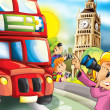 London - main symbols of the city - happy holiday drawing for children — Stock Photo