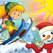 The cartoon child downhill jump - with christmas characters — Stock Photo