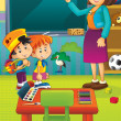 Stock Photo: Cartoon kindergarten