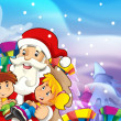 The christmas gang - funny illustration for the children — Stock Photo