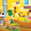 Stock Photo: The farm illustration for kids - many different elements