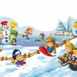 ストック写真: Cartoon snow fight - making snowm- illustration for children