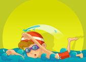 The cartoon boy swimming to win - challenge — Stock Photo
