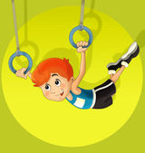 The kid training - acrobatics - sport — Stock Photo