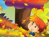 Cartoon kids playing autumn fun — Stock Photo