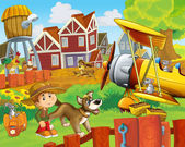 The happy farm illustration for kids - many different elements - an old plane — Stock Photo