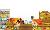 The shop illustration with different goods and kids — Stockfoto