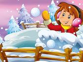 Cartoon snow fight — Stock Photo