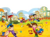 Cartoon kids playing — Stock Photo