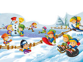 The cartoon snow fight - making a snowman - illustration for the children — Stok fotoğraf