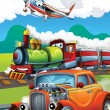 Stock Photo: Locomotive, car and flying machine - illustration for children