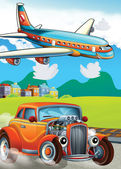 The car and the flying machine - illustration for the children — Stock Photo