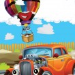 The car and the balloon - Illustration for children - Stock Photo