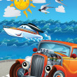 Car and swimming mashines - Illustration for children — 图库照片