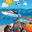 Car and swimming mashines - Illustration for children — Stock Photo
