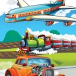 The locomotive, car and the flying machine - illustration for the children - Stock Photo