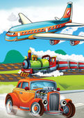 The locomotive, car and the flying machine - illustration for the children — Stock Photo