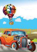 The car and the balloon - Illustration for children — Stock Photo