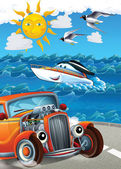 Mashines carro e natação - ilustração para crianças — Foto Stock