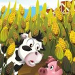 The cartoon pigs playing hide and seek in the field — Stock Photo