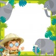 Stock Photo: Safari frame - with animals - illustration for children