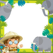 The safari frame - with animals - illustration for the children — Stock Photo